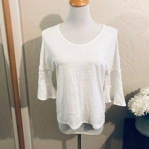 Cynthia Rowley white linen top size M